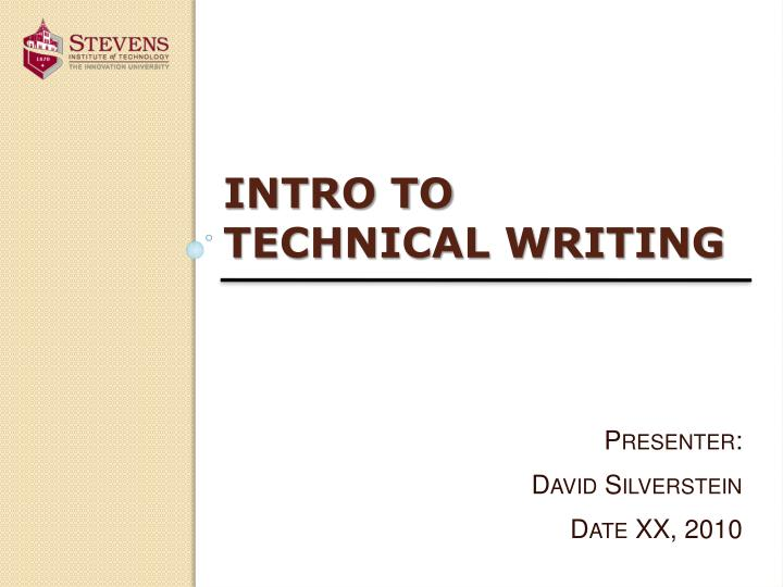 intro to technical writing n.