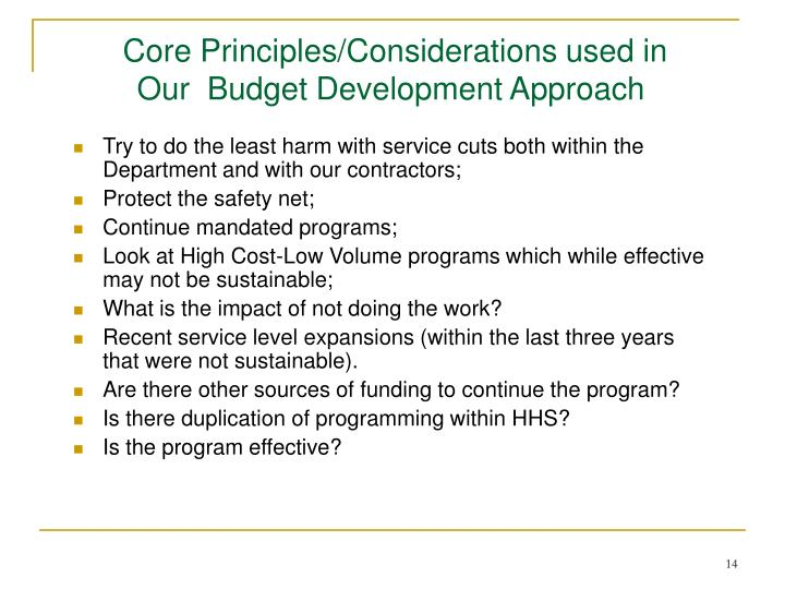 Core Principles/Considerations used in