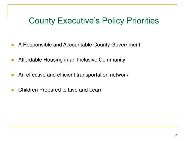 County executive s policy priorities