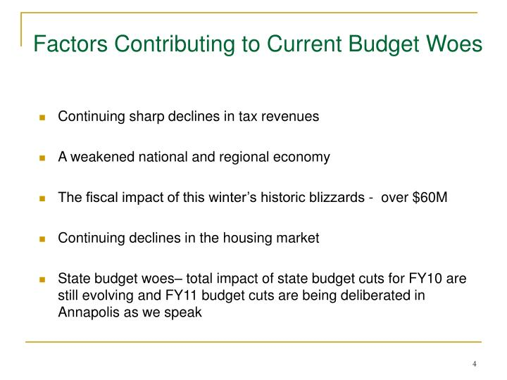 Factors Contributing to Current Budget Woes