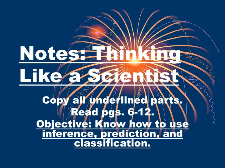 notes thinking like a scientist n.