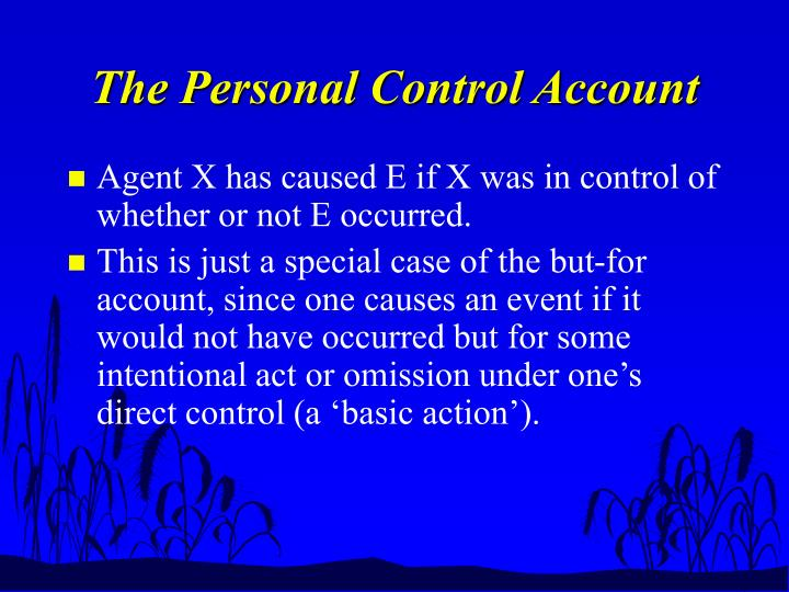 the personal control account n.