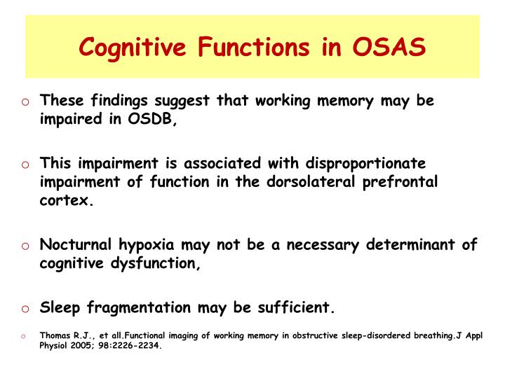 Cognitive Functions in OSAS