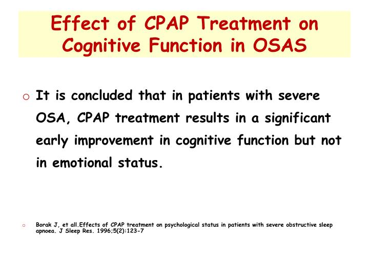 Effect of CPAP Treatment on Cognitive Function in OSAS