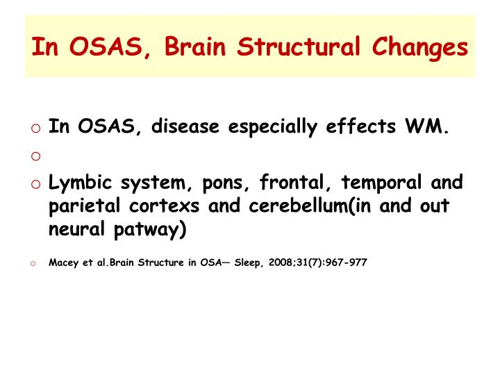 In OSAS, Brain Structural Changes