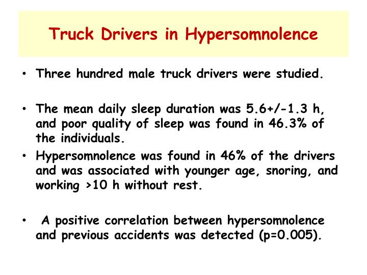 Truck Drivers in Hypersomnolence
