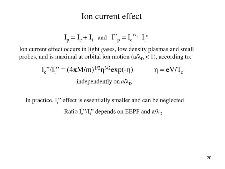 Ion current effect