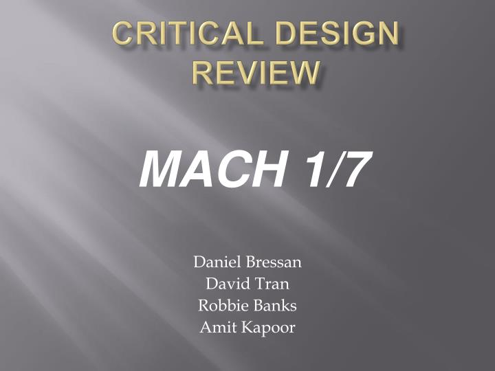 critical design review n.
