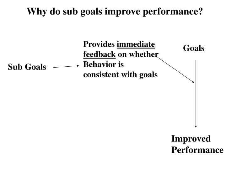 Why do sub goals improve performance?