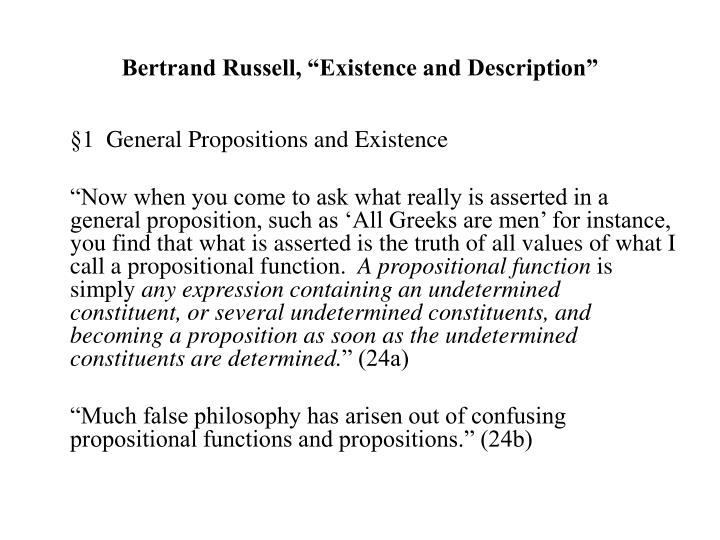 bertrand russell existence and description n.