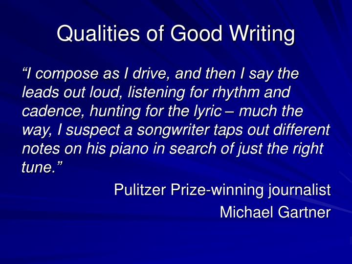 qualities of a good reporter ppt