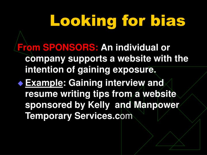 Looking for bias