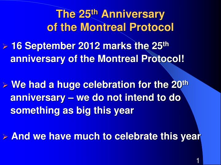 the 25 th anniversary of the montreal protocol n.