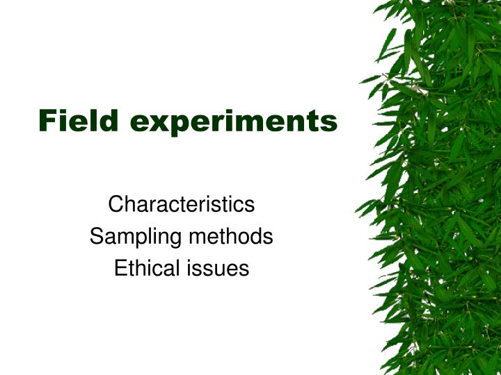 field experiments n.