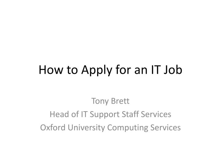 how to apply for an it job n.