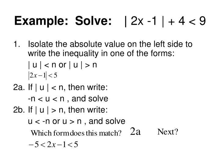 Example:  Solve:|