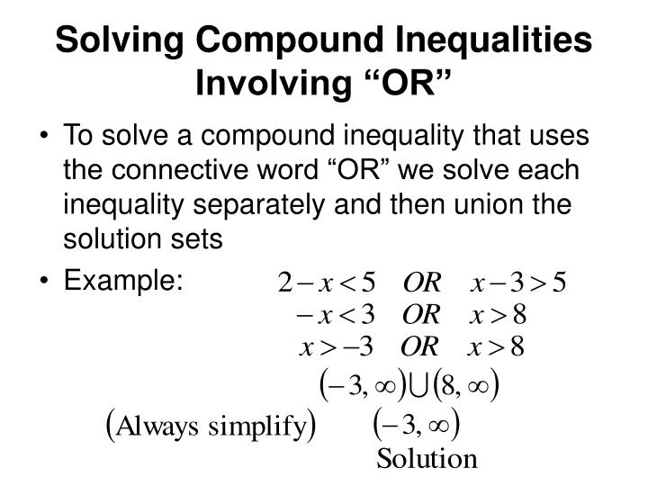 """Solving Compound Inequalities Involving """"OR"""""""
