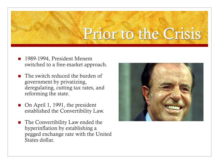 Prior to the crisis