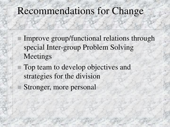 Recommendations for Change