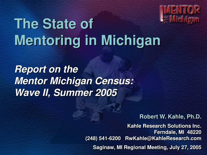 the state of mentoring in michigan n.