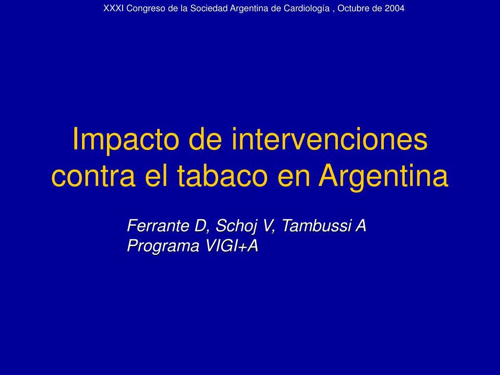 impacto de intervenciones contra el tabaco en argentina l.
