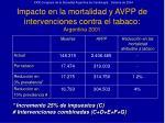 impacto en la mortalidad y avpp de intervenciones contra el tabaco argentina 2001