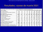 resultados causas de muerte 2001