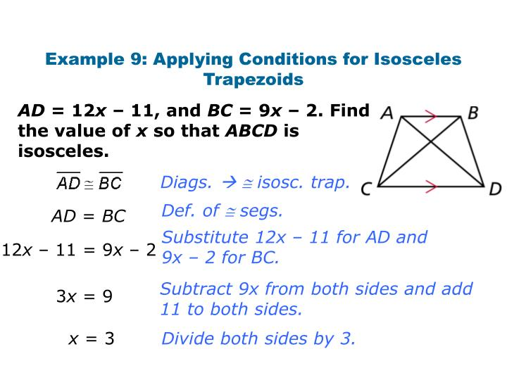 Example 9: Applying Conditions for Isosceles Trapezoids