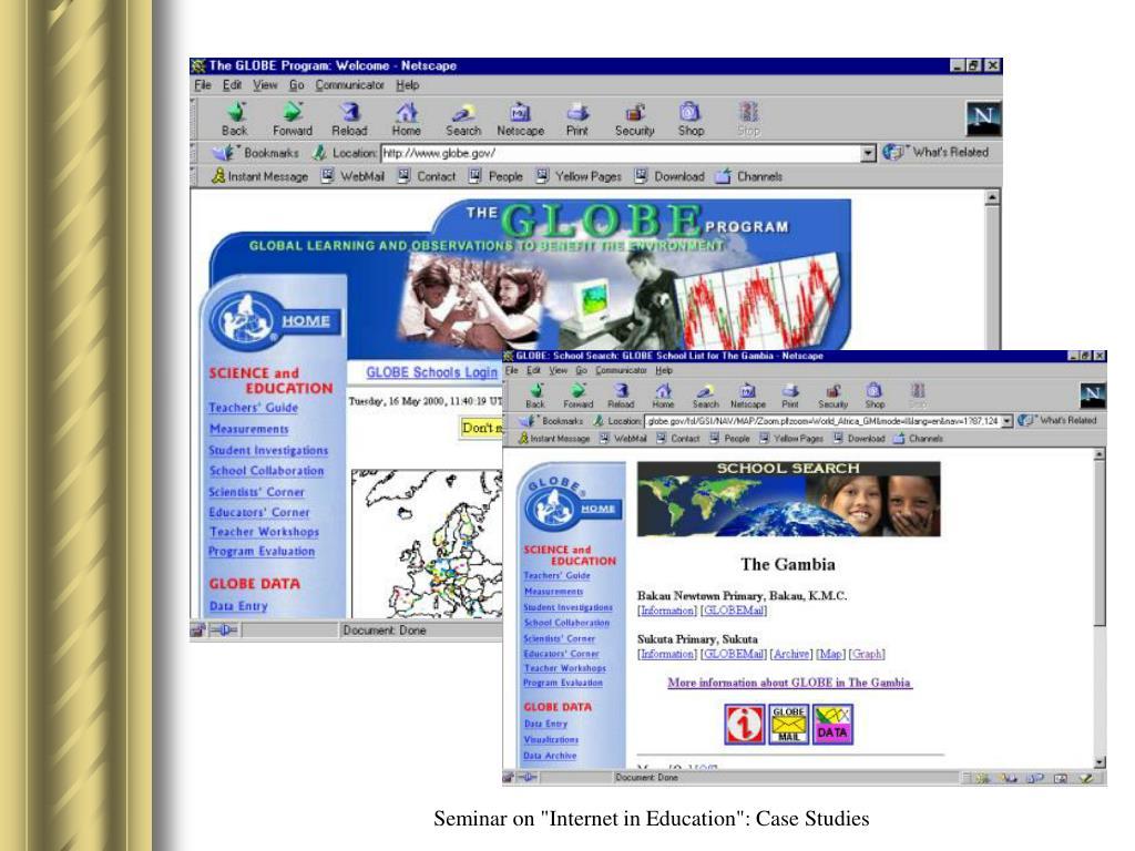 "Seminar on ""Internet in Education"": Case Studies"