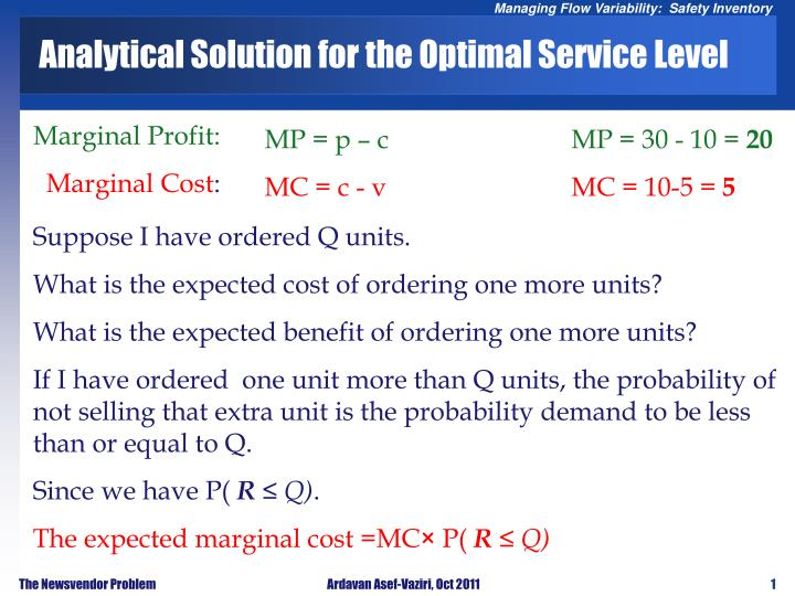 analytical solution for the optimal service level n.