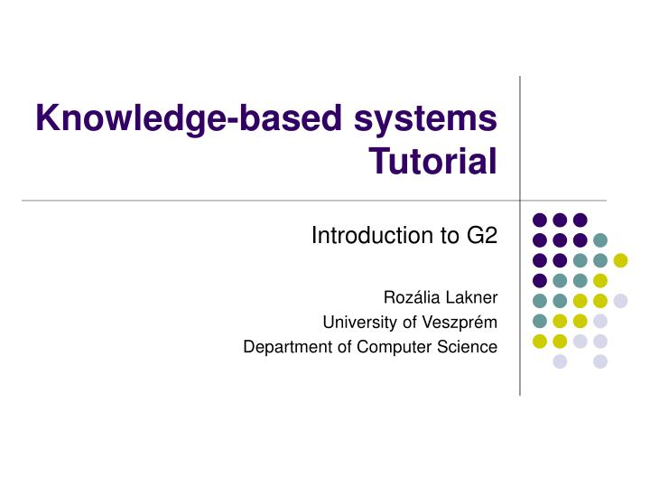 knowledge based systems tutorial n.