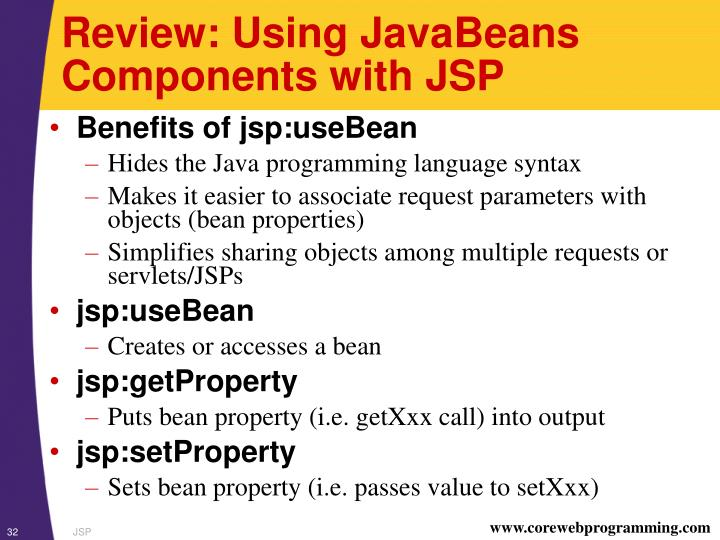 Review: Using JavaBeans Components with JSP