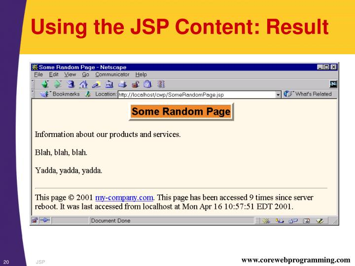 Using the JSP Content: Result