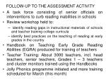 follow up to the assessment activity