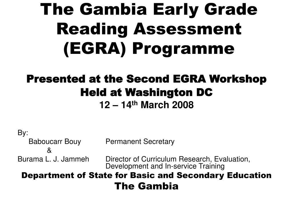 the gambia early grade reading assessment egra programme l.