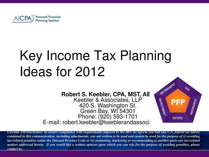 key income tax planning ideas for 2012 n.