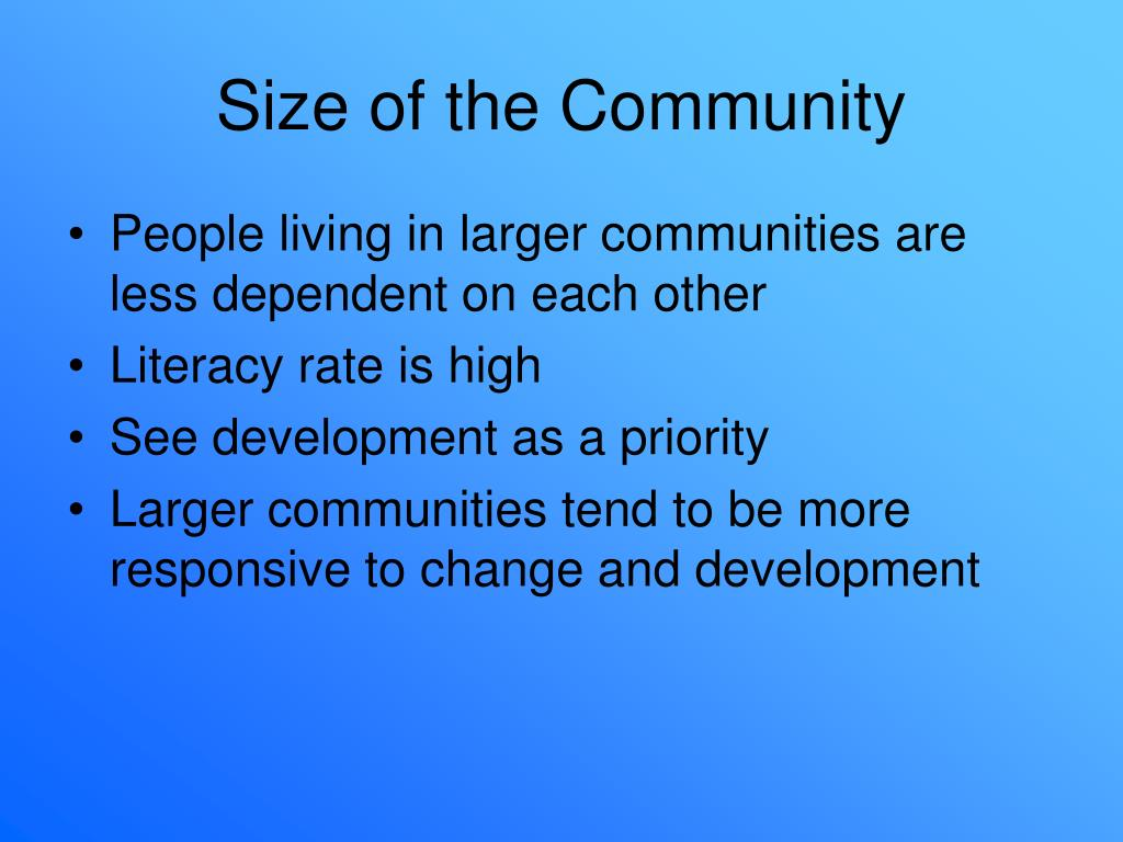 Size of the Community