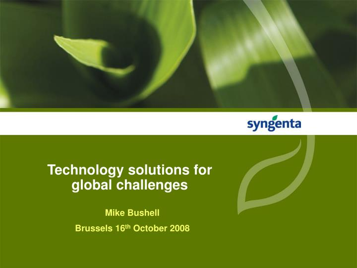 technology solutions for global challenges n.
