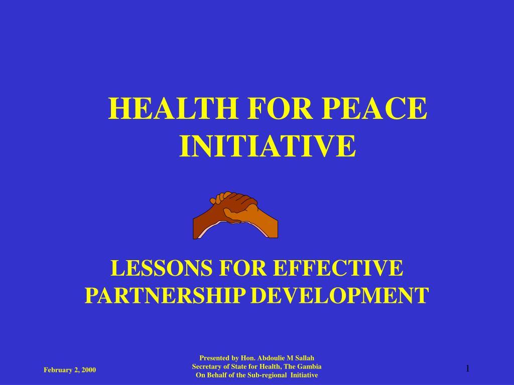 health for peace initiative l.