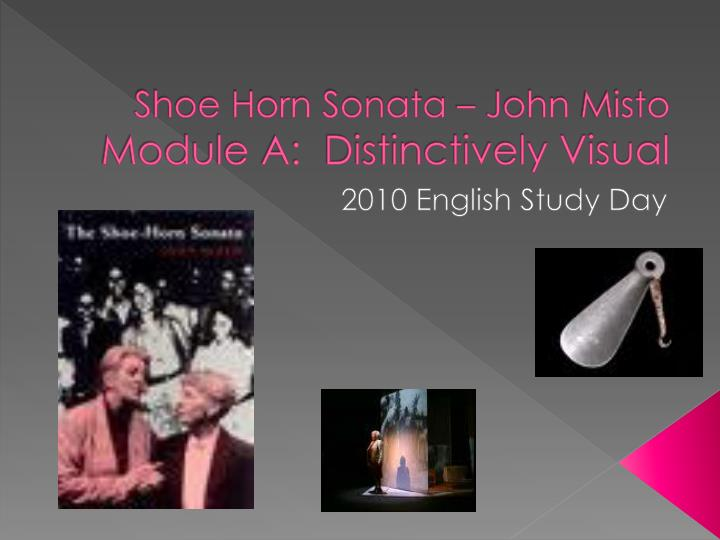 shoe horn sonata related texts distinctly visual The prescribed text 'the shoe- horn sonata' and the related texts 'lose yourself and 'the eye' highlights to us that there are many key elements that emerges from the idea of distinctively visual images.