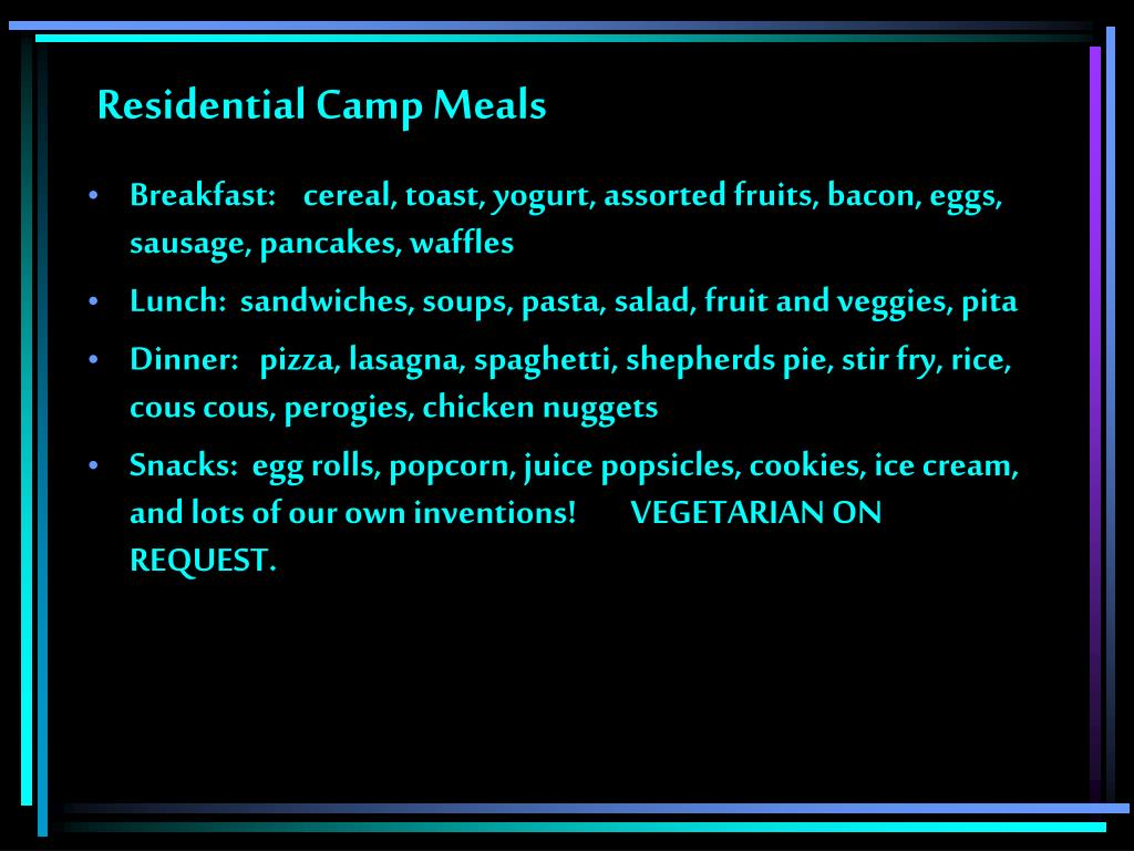 Residential Camp Meals