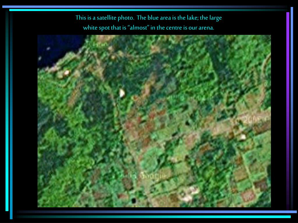 This is a satellite photo.  The blue area is the lake; the large