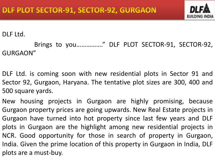Dlf plot sector 91 sector 92 gurgaon