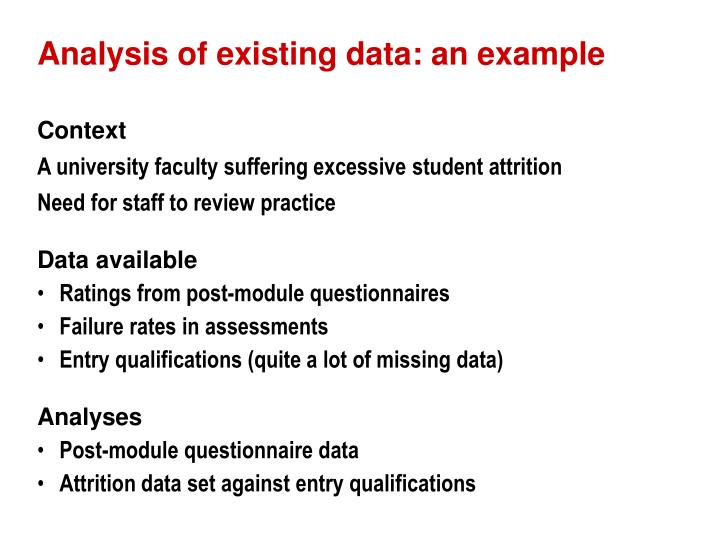 Analysis of existing data: an example