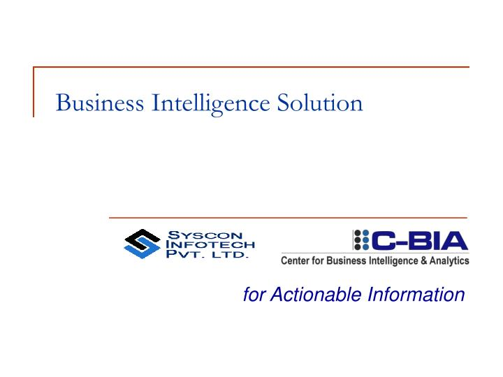 business intelligence solution n.
