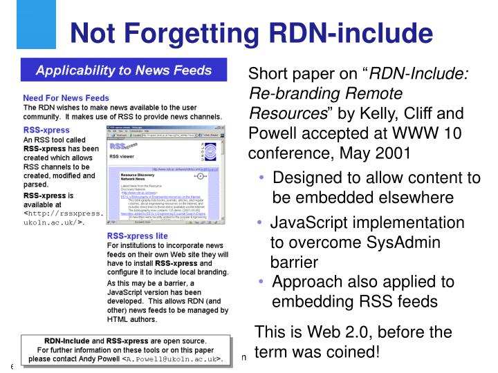 Approach also applied to embedding RSS feeds