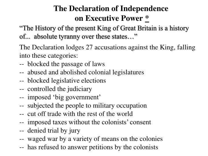 the declaration of independence on executive power n.