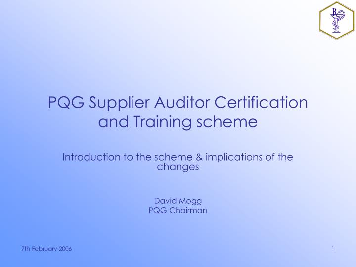pqg supplier auditor certification and training scheme n.