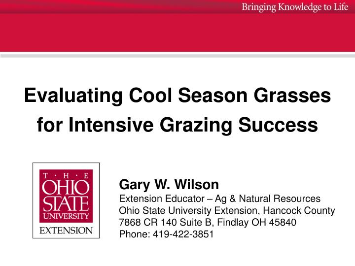 Evaluating cool season grasses for intensive grazing success
