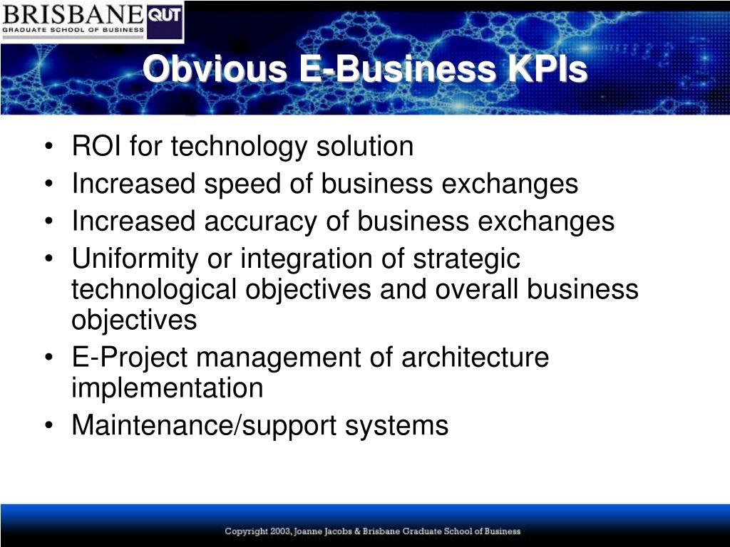 Obvious E-Business KPIs